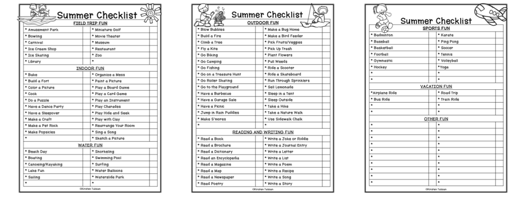 This free summer passport bucket list checklist can be downloaded on Kirsten's Kaboodle Teachers Pay Teachers Store. It includes over 100 engaging summer activities for kids!