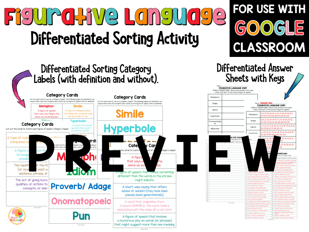 Figurative Language Sorting Activity PREVIEW