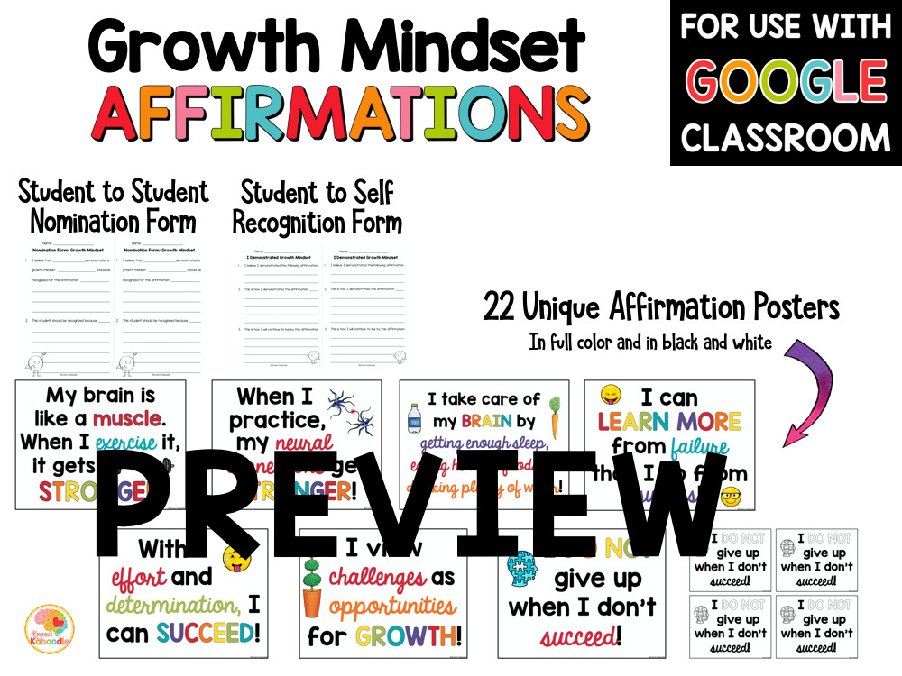 Growth Mindset Affirmations Posters Bulletin Board PREVIEW