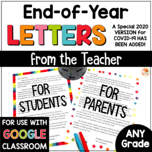 End of Year Letters to Students and Parents with COVID-19 2020 Letter Option COVER
