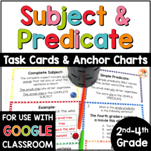 Subject and Predicate Task Cards and Anchor Charts COVER