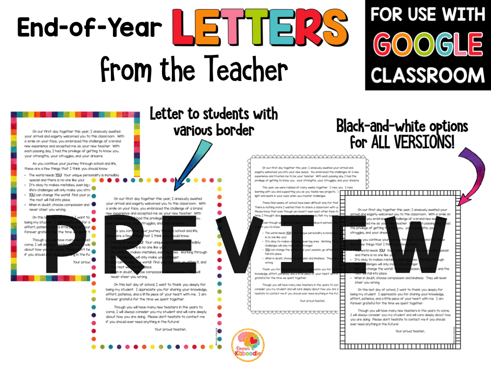 End of Year Letters to Students and Parents with COVID-19 2020 Letter Option PREVIEW