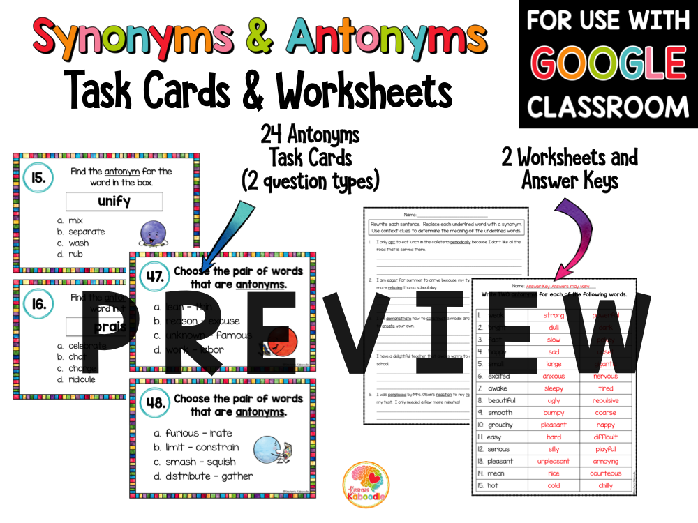 Synonyms and Antonyms Activities for Upper Grades with Google Option
