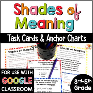 Shades of Meaning Task Cards and Activities COVER