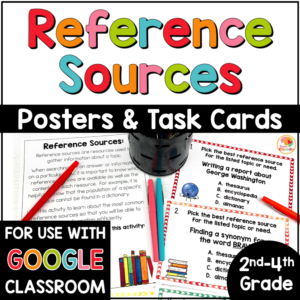 Reference Materials Posters and Task Cards with Digital Option Google COVER