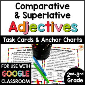 Comparative and Superlative Adjectives Task Cards and Anchor Charts COVER
