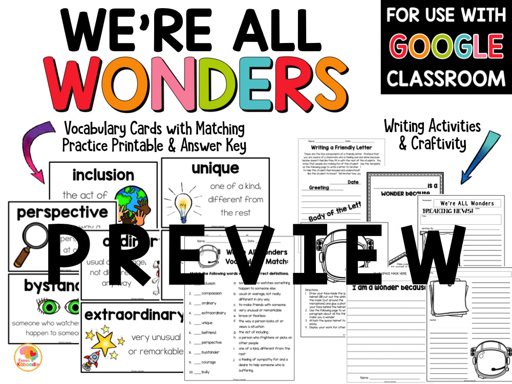 We're All Wonders Activities PREVIEW