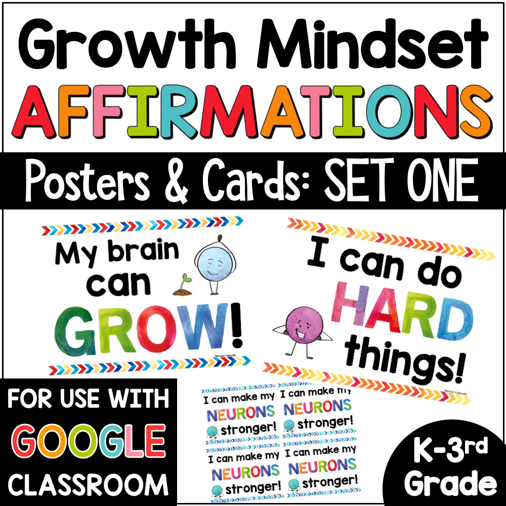 Growth Mindset Affirmations Posters for Primary Grades COVER