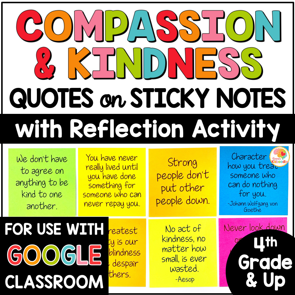 Compassion and Kindness Quotes on Sticky Notes Activities COVER