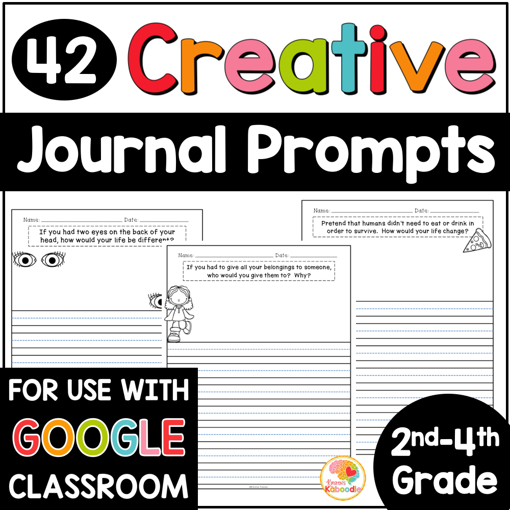 Journal Prompts for 2nd, 3rd, and 4th Grade with Digital Distance Learning Option