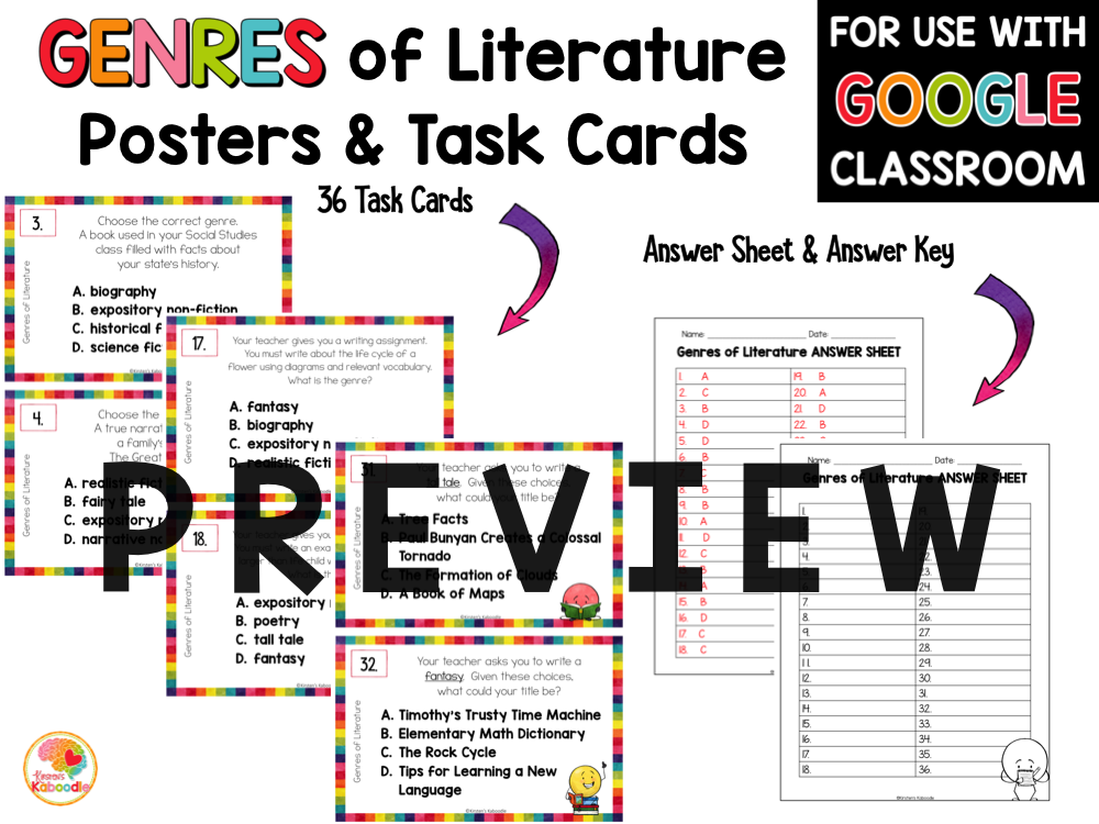 Literary Genres Posters and Task Cards with Digital Option PREVIEW