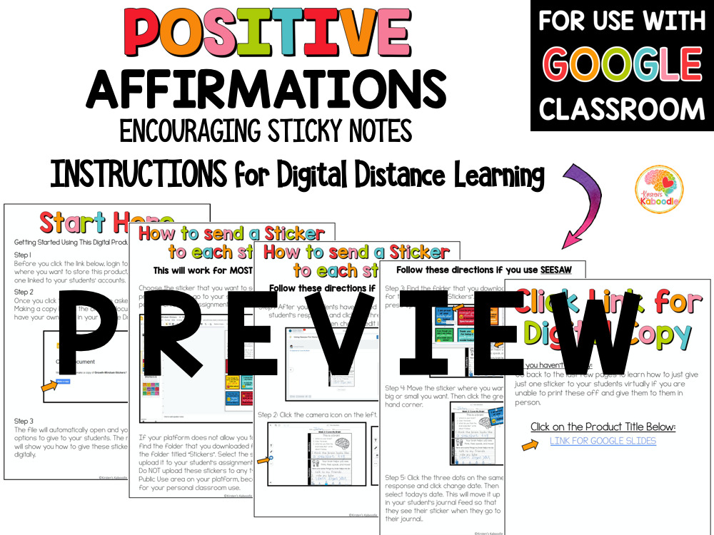 Positive Affirmations Sticky Notes for Upper Grades PREVIEW