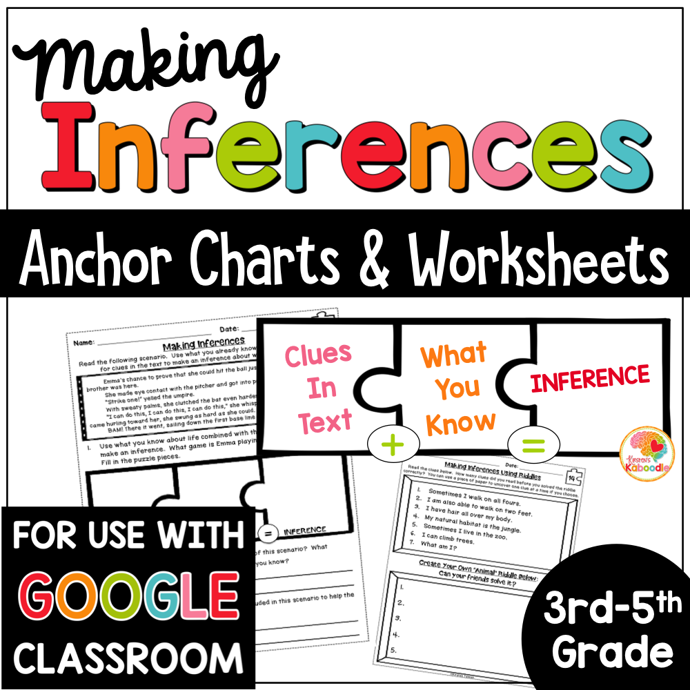 Making Inferences Activities and Worksheets with Digital Distance Learning Option