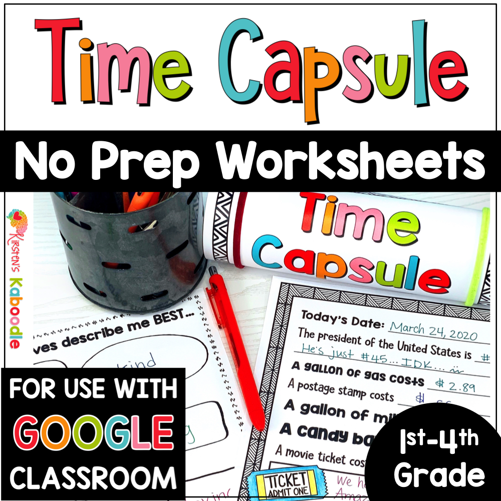 Time Capsule Ideas and Writing Activities with Digital Distance Learning Option on Google Slides