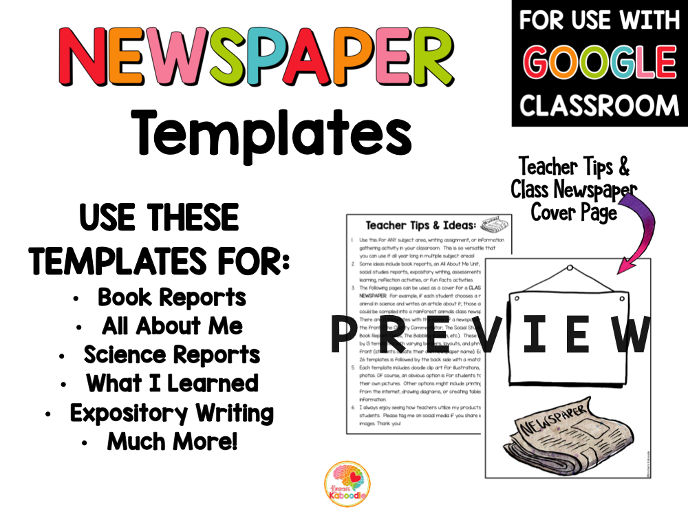 Newspaper Templates Writing Activities PREVIEW