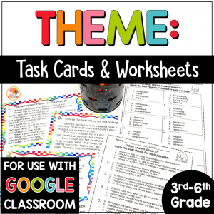 Theme Task Cards and Printables Digital Option COVER