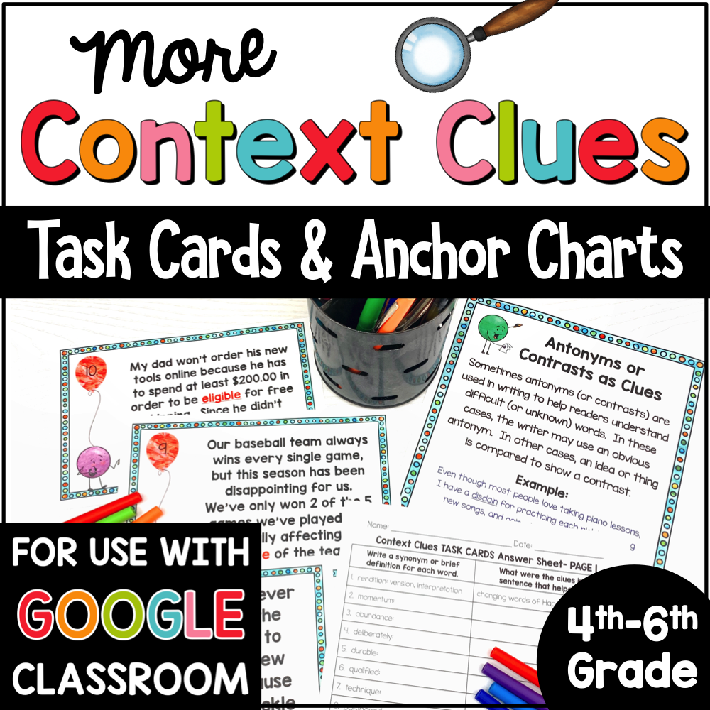 Context Clues Task Cards 4th to 6th COVER