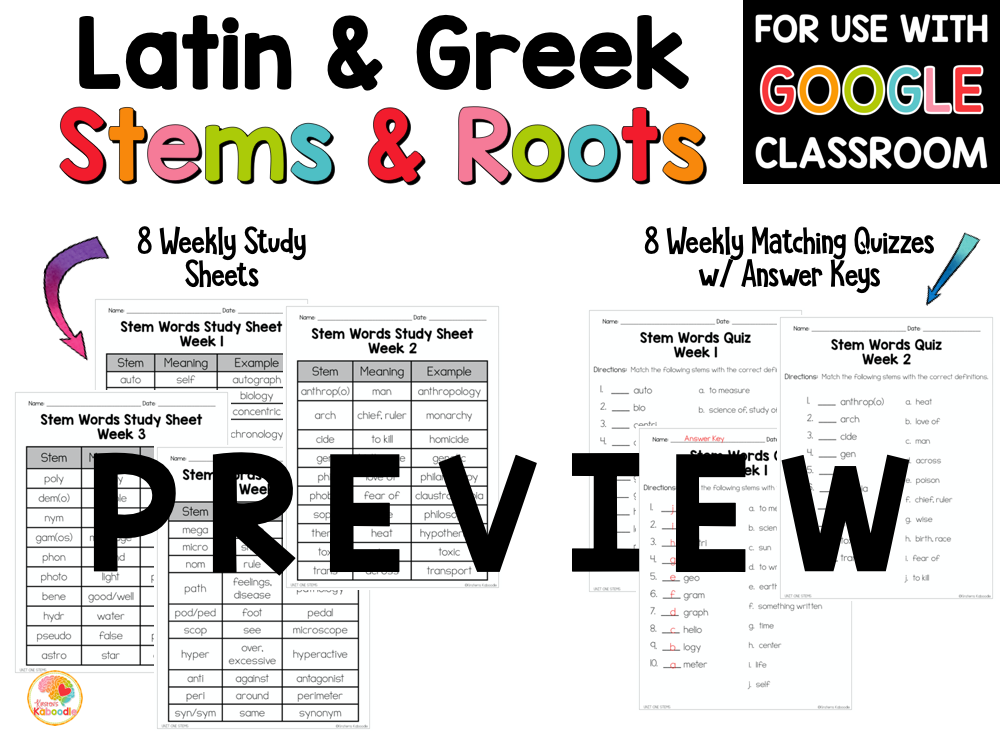 Latin and Greek Stems and Roots Activities PREVIEW