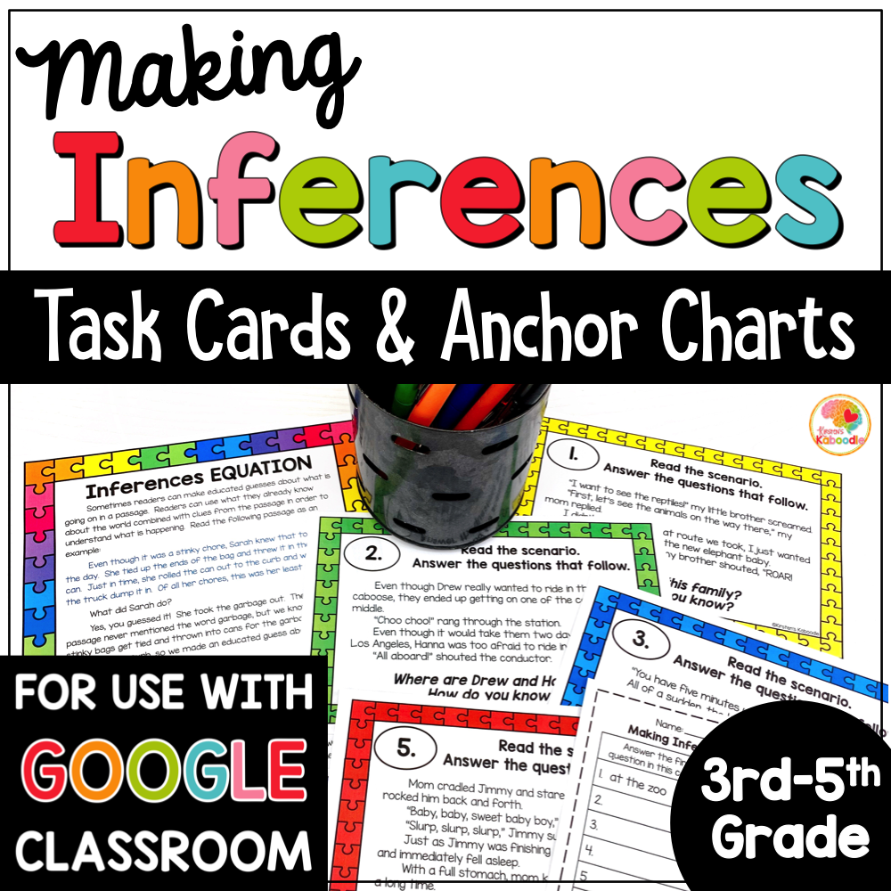 Making Inferences Task Cards COVER