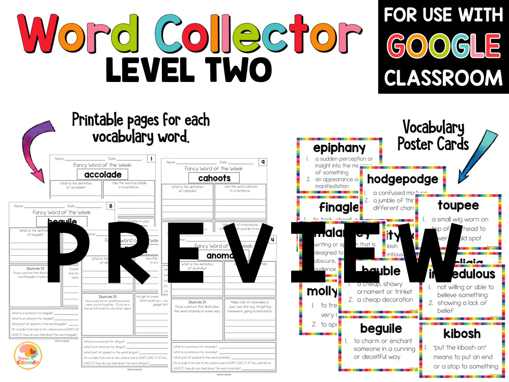 Fancy Words Word Collector Vocabulary Word of the Week PREVIEW