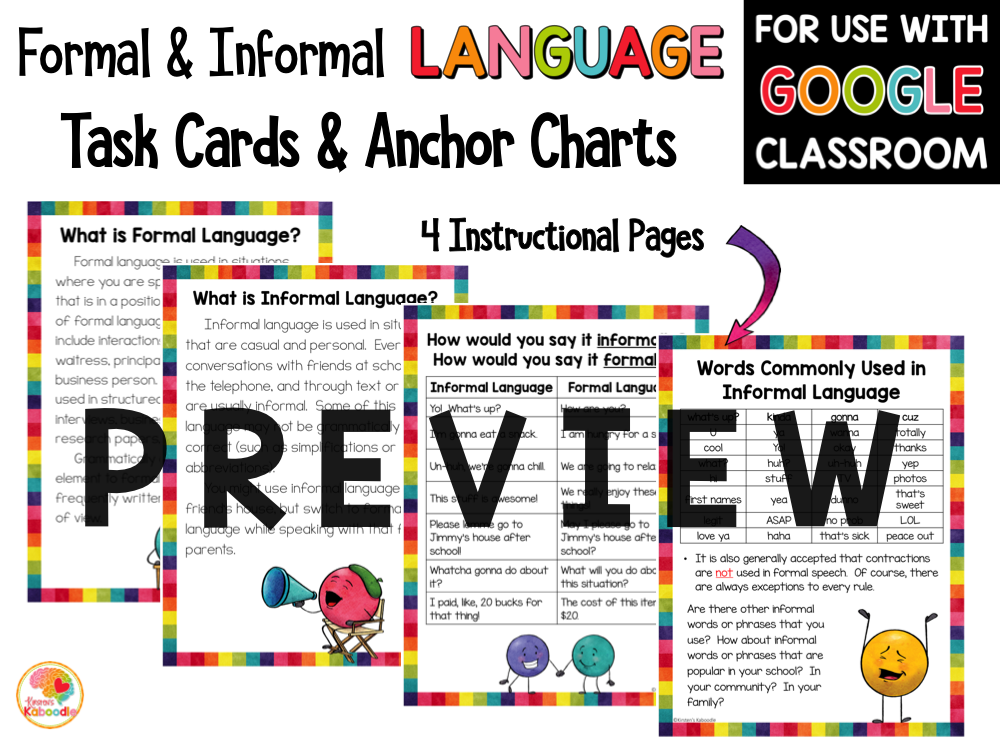Formal and Informal Language Anchor Charts and Task Cards PREVIEW