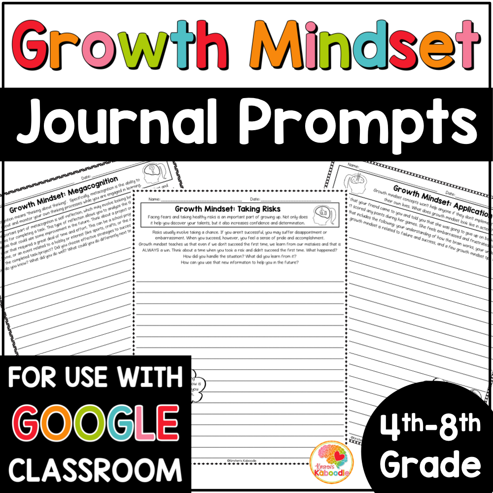 Growth Mindset Journal Prompts for 4th, 5th, 6th, 7th, and 8th Grade with Digital Distance Learning Option