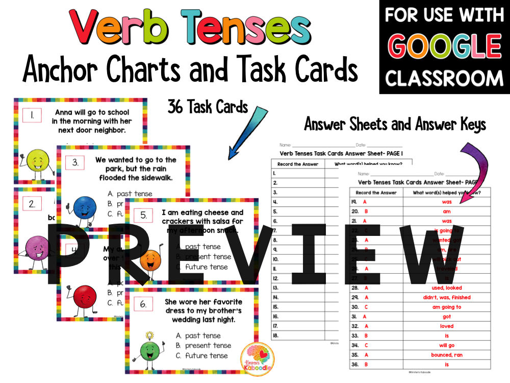 Verb Tenses Task Cards and Anchor Charts PREVIEW