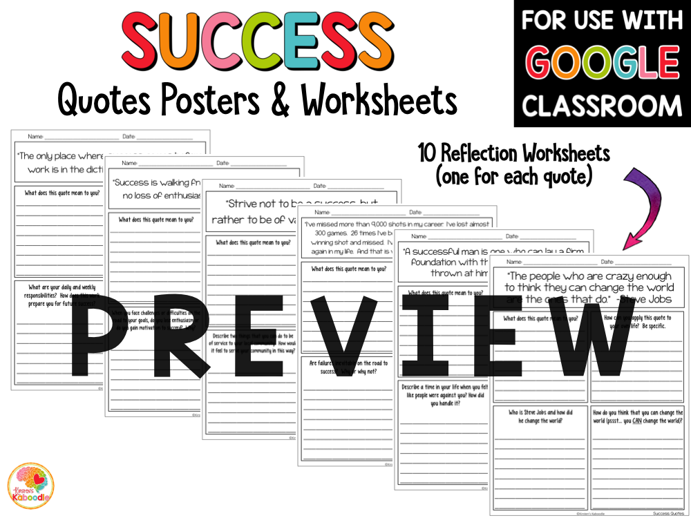 Success Quotes and Activities PREVIEW
