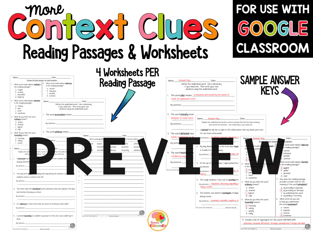 Context Clues Passages for 4th to 6th Grade with Digital Option PREVIEW