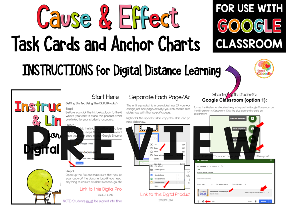 Cause and Effect Task Cards with Digital Option PREVIEW