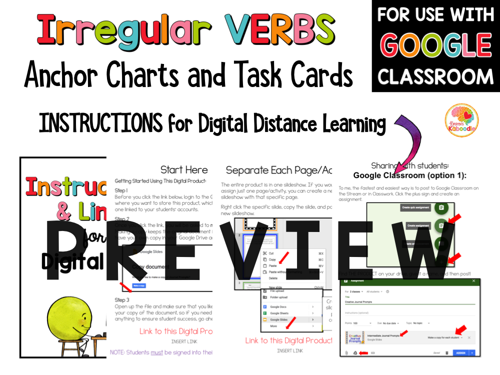 Irregular Verbs Task Cards and Anchor Charts PREVIEW