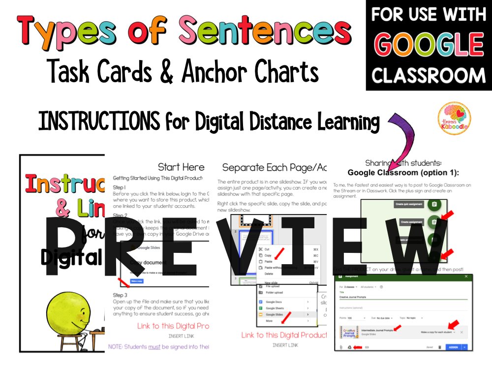 Four Types of Sentences Task Cards and Anchor Charts PREVIEW