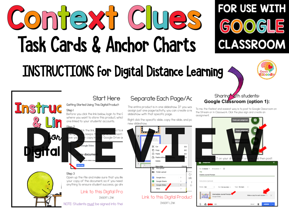 Context Clues Task Cards 4th to 6th PREVIEW