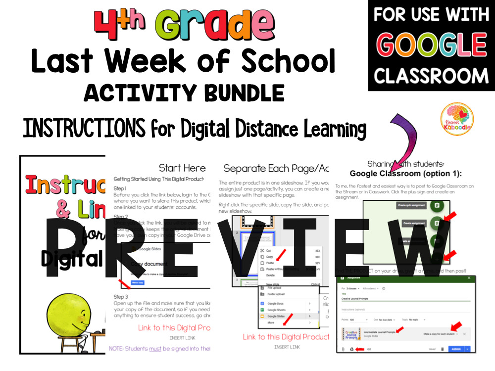 Last Week of School Activities for 4th Grade PREVIEW