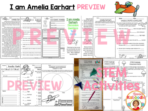 I am Amelia Earhart by Brad Meltzer Literature Activities