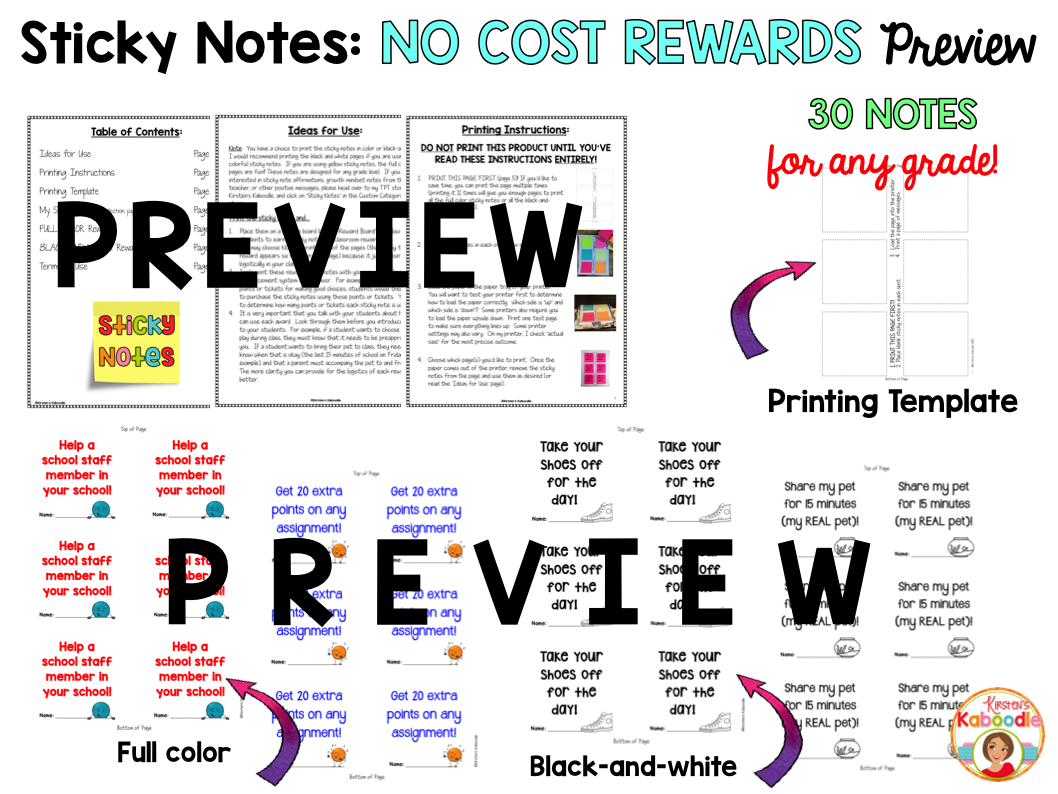 No-Cost Student Rewards on Sticky Notes
