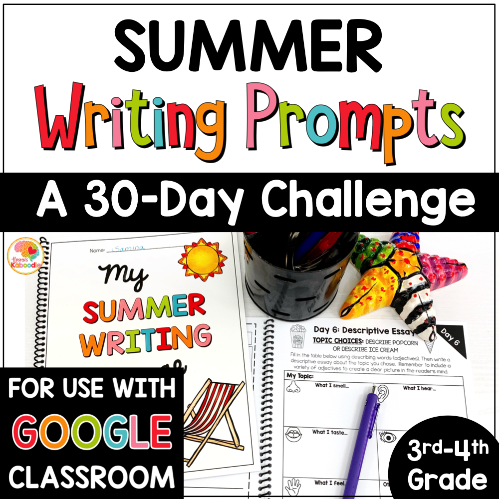 Summer Writing Prompts Journal for 3rd and 4th Grade with Digital Option COVER