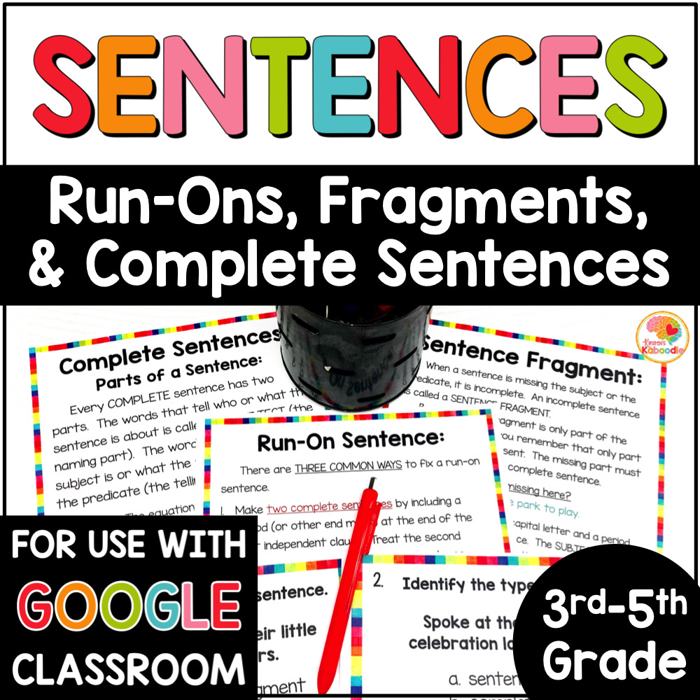 Sentence Fragments, Sentences, and Run On Sentences Activities COVER