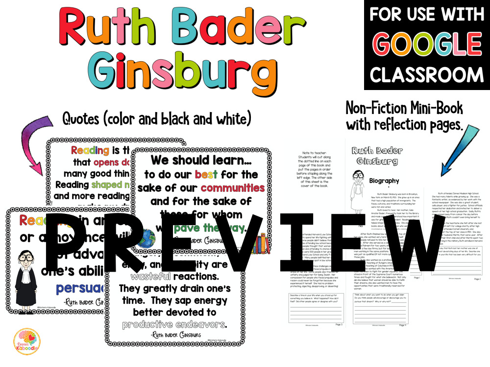 Ruth Bader Ginsburg Nonfiction Biography I Dissent Activities PREVIEW