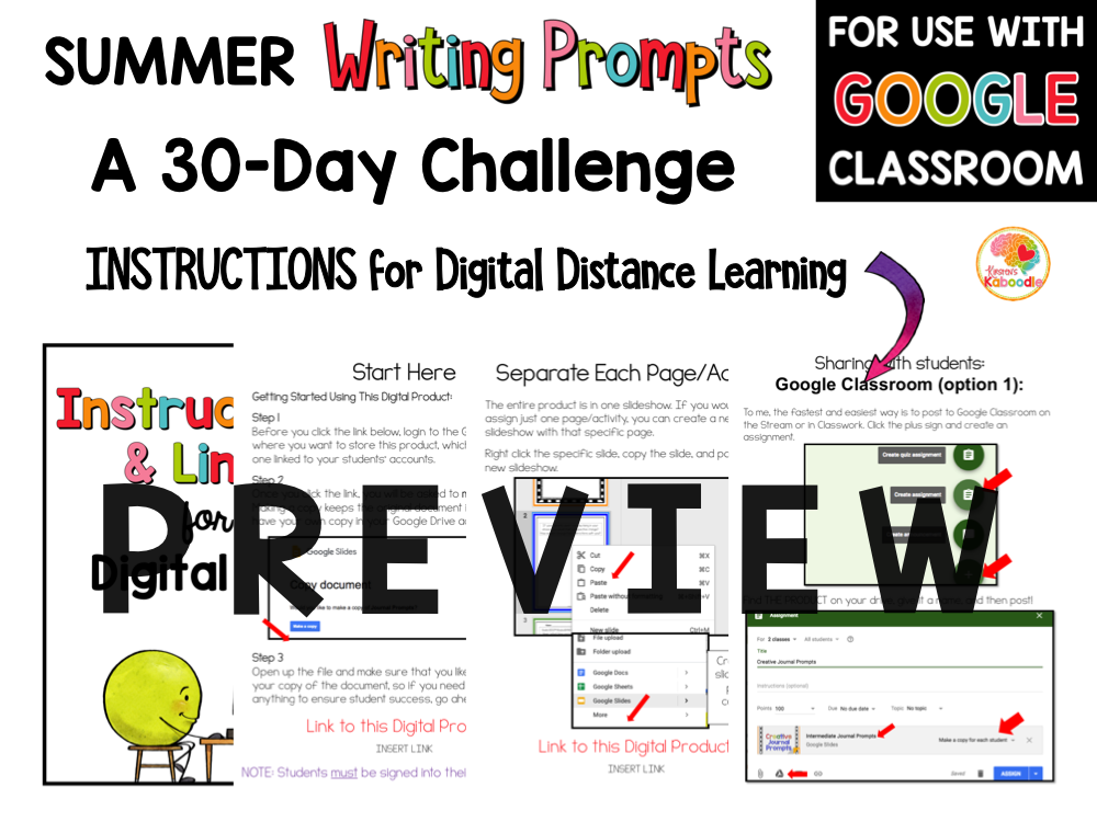 Summer Writing Prompts Journal for 3rd and 4th Grade with Digital Option PREVIEW