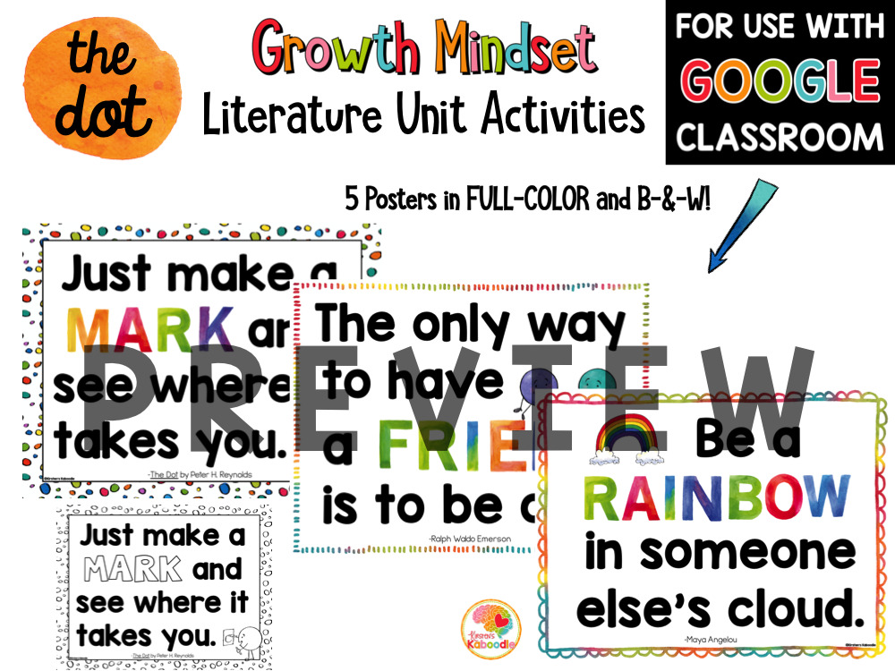 The Dot by Peter Reynolds Activities for Kids PREVIEW