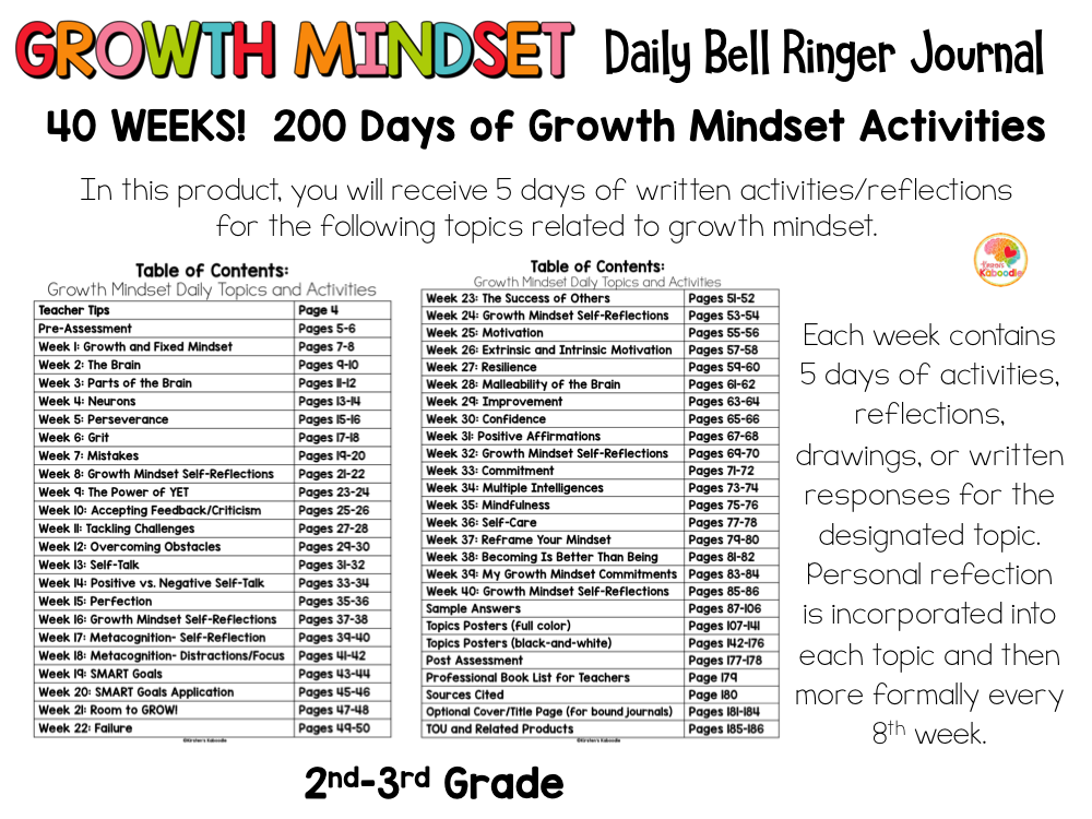 Growth Mindset Bell Ringers for 2nd-3rd Grade PREVIEW