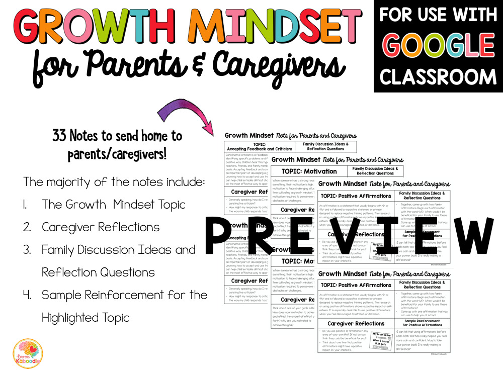 Growth Mindset Information for Parents and Caregivers PREVIEW