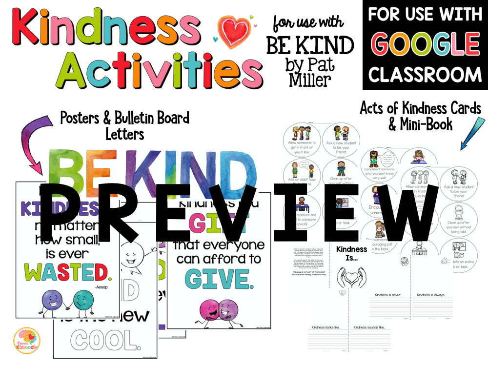 Be Kind Kindness Activities for Kids PREVIEW