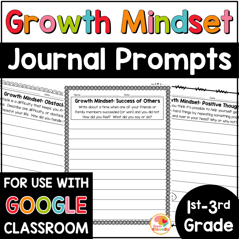 Growth Mindset Journal Prompts Digital Distance Learning Option