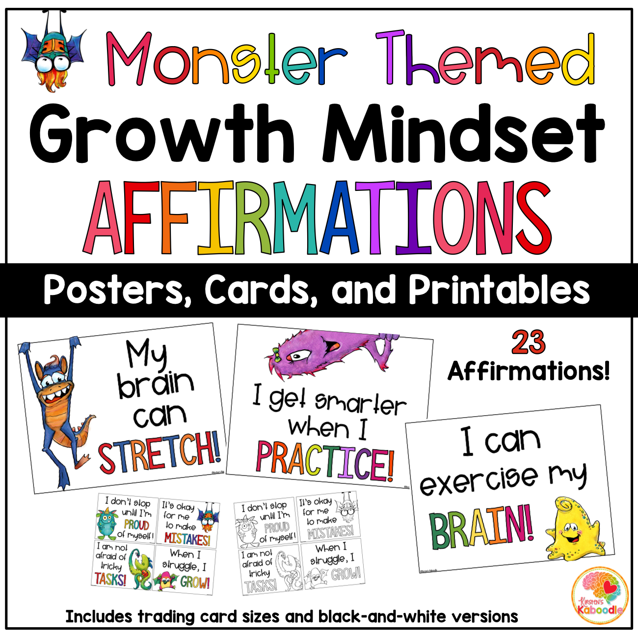 Growth Mindset Posters: Monster Theme Affirmation Bulletin Board for Primary Grades