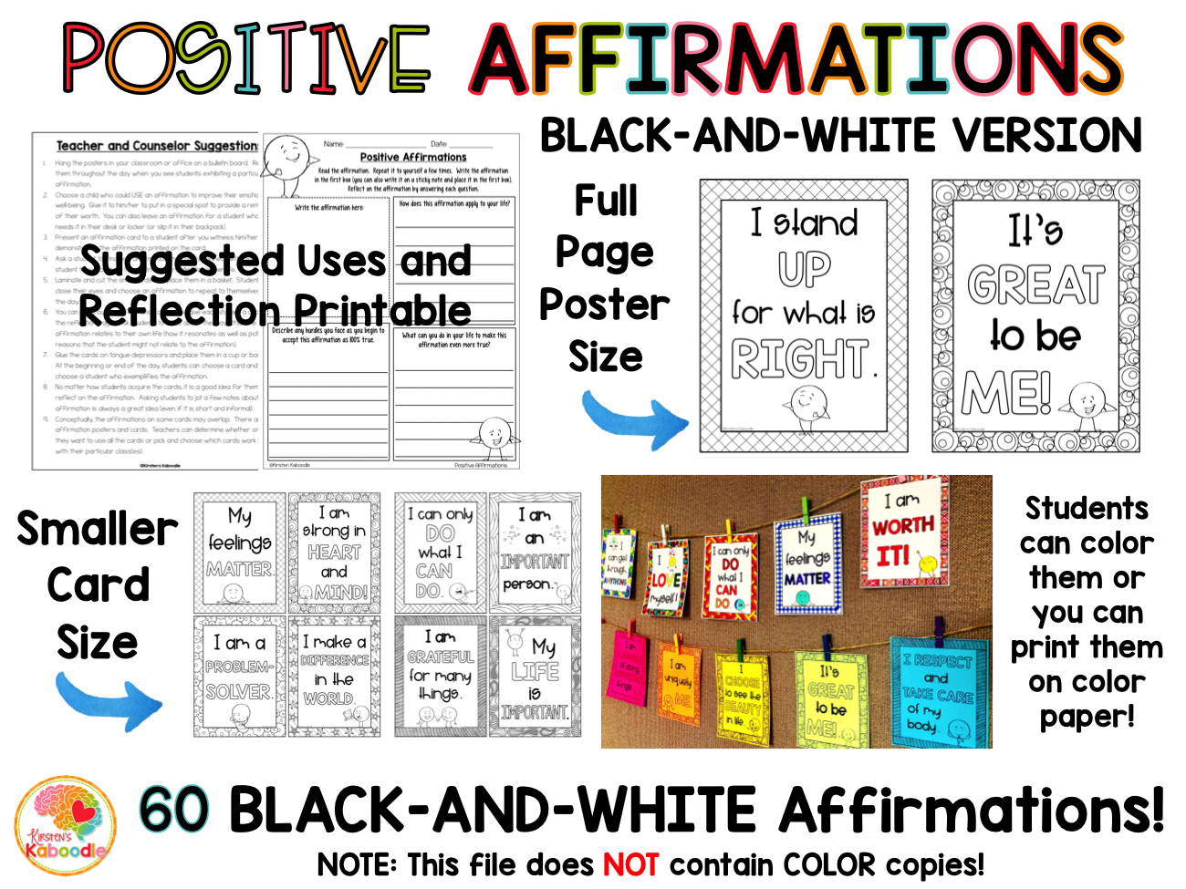 Positive Affirmations Posters and Cards: Black-and White Version