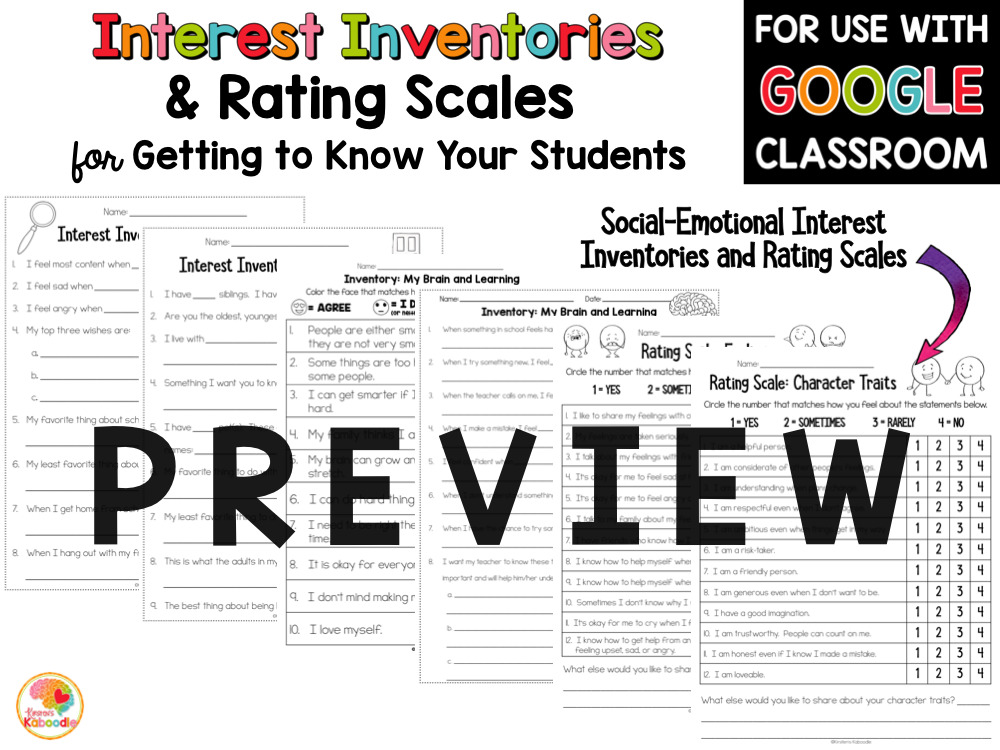 Getting to Know You Activities Interest Inventories and Rating Scales PREVIEW