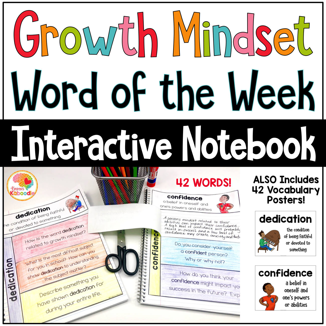 Growth Mindset Word of the Week: Interactive Notebook and Posters