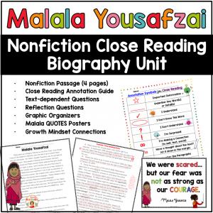 Nonfiction Close Reading Biography Unit for Malala Yousafzai